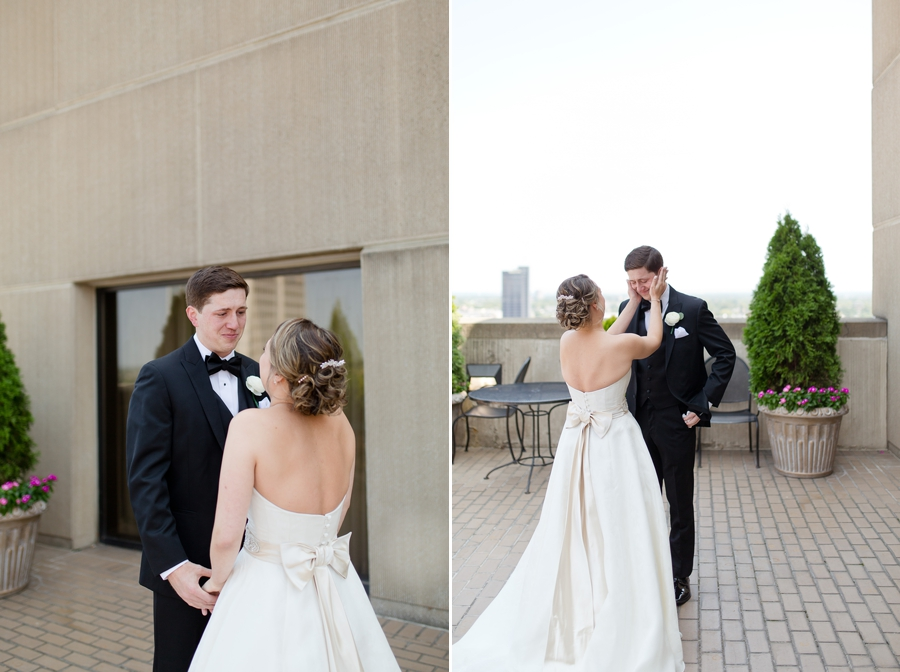 emotional bride and groom at statehouse first look