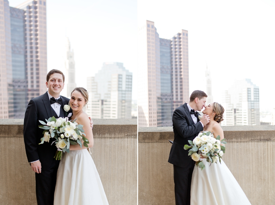 bride and groom rooftop portraits at ohio statehouse wedding