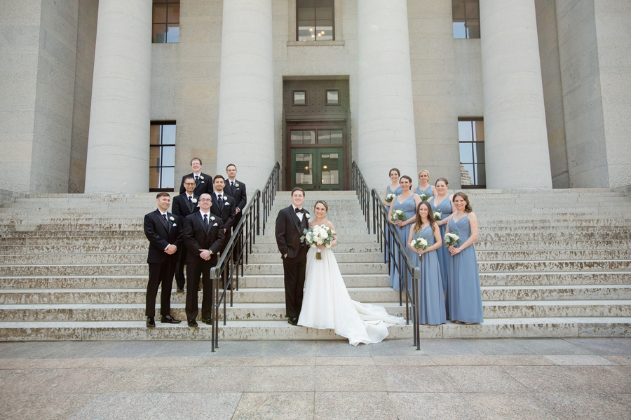 wedding party on stairs at ohio statehouse