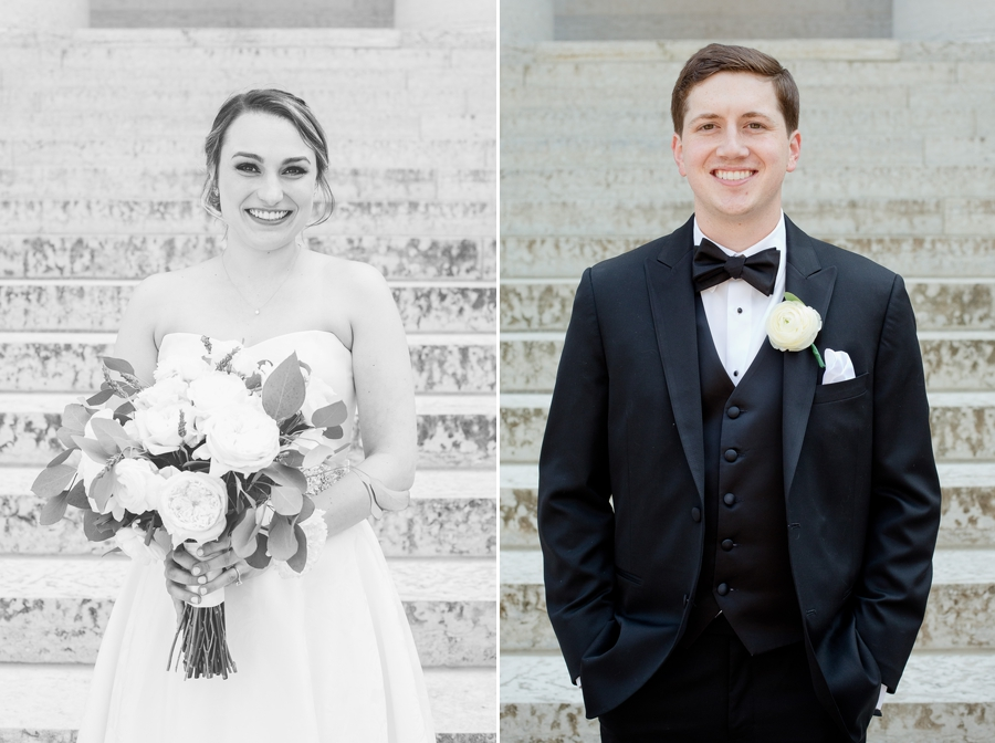 bride and groom portraits at ohio statehouse stairs
