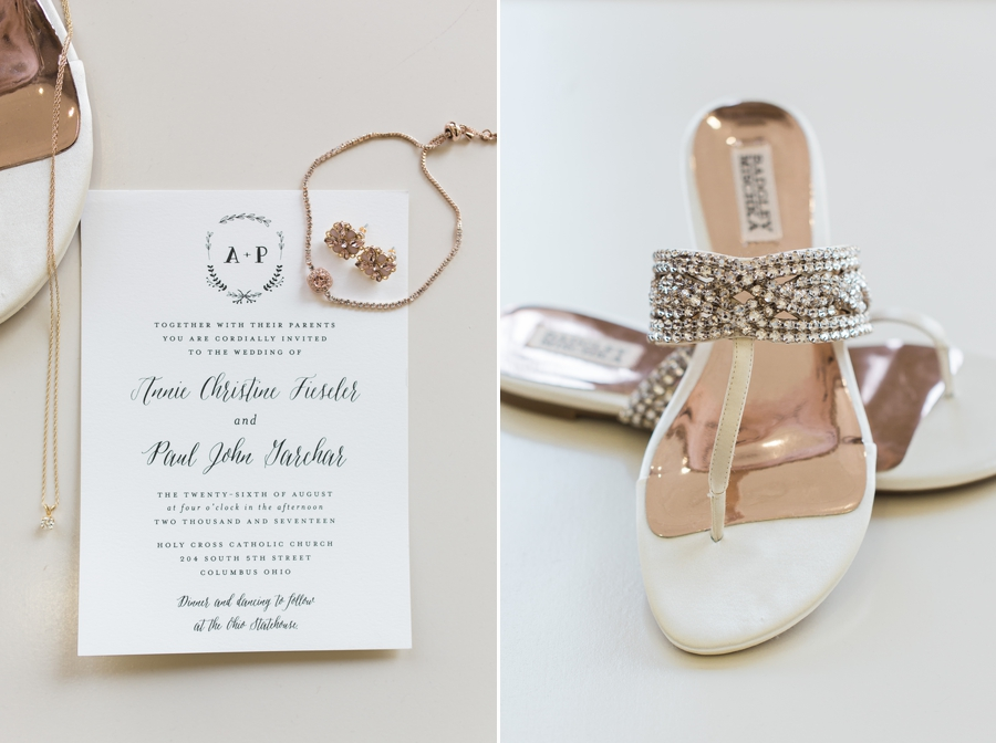 brides jewelry and shoes at ohio statehouse wedding