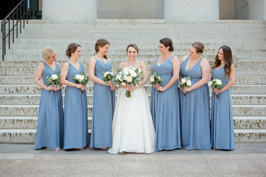 bride with bridesmaids at statehouse wedding