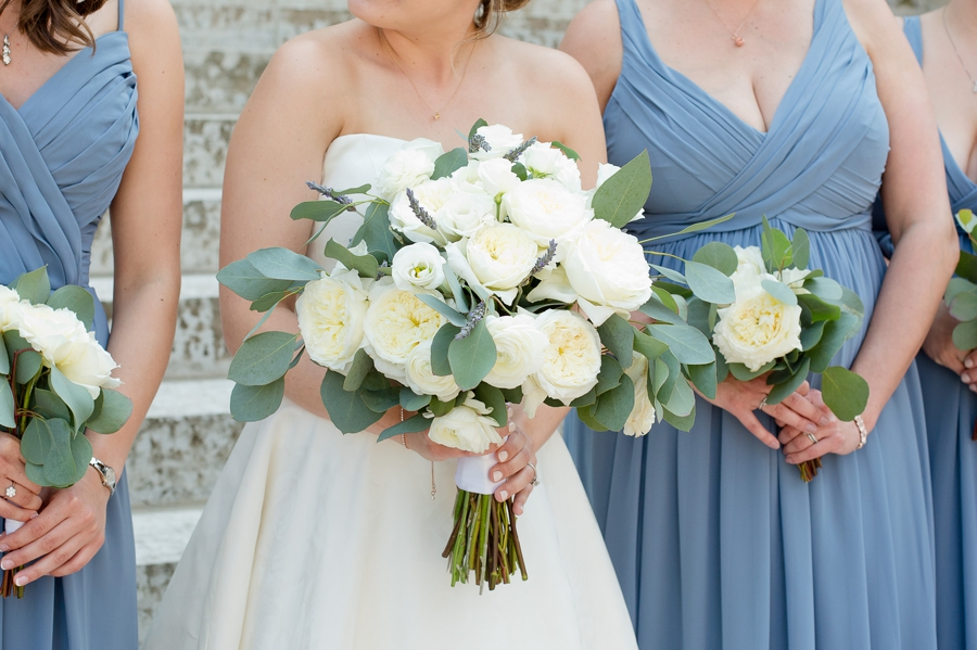 bridal bouquets with bridesmaids at statehouse