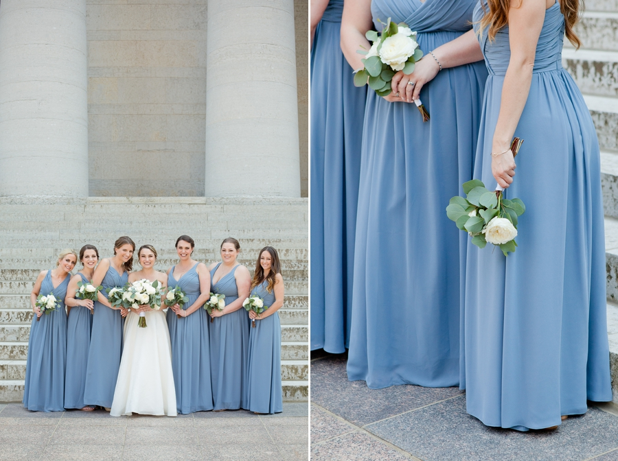 bride and bridesmaids bouquets at ohio statehouse