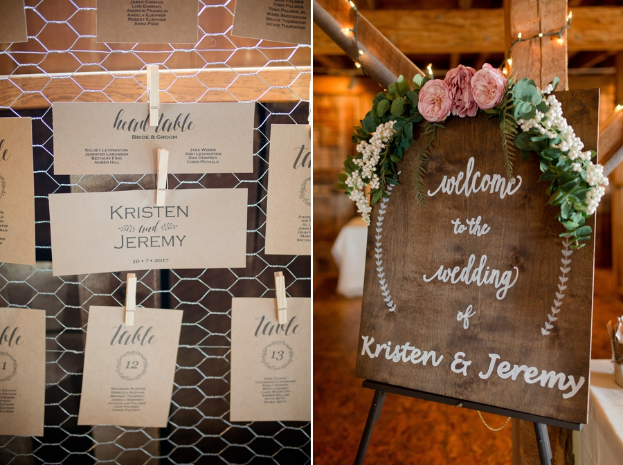 welcome sign at a barn wedding in ohio