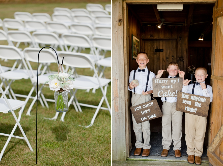 ring bearers holding signs at a barn wedding in ohio