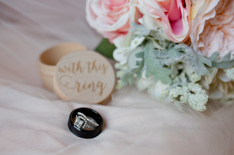 wedding rings with ring box at a barn wedding in ohio