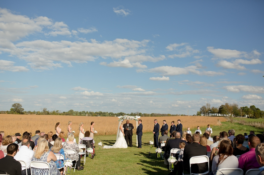 wide photo of ceremony at a barn wedding in ohio