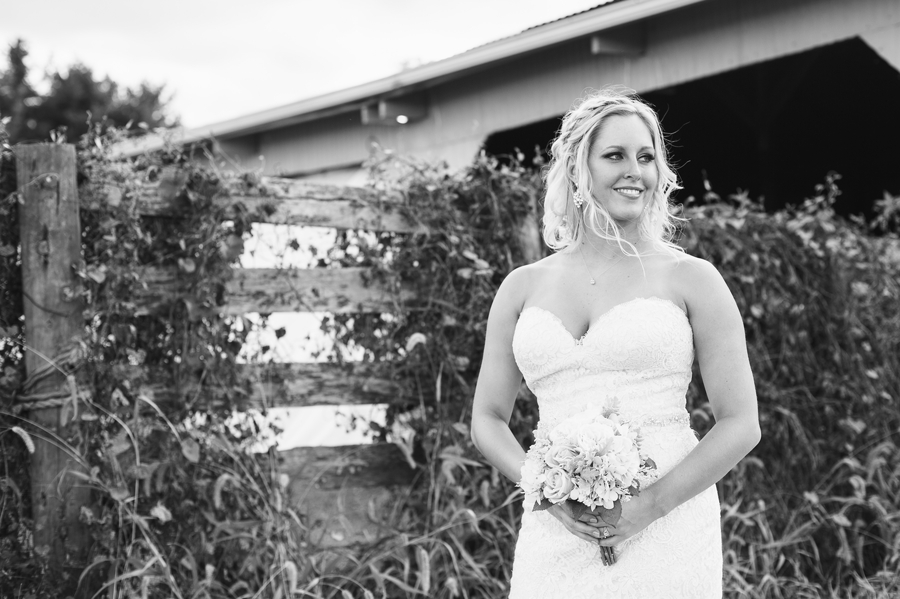 black and white photo of bride looking off