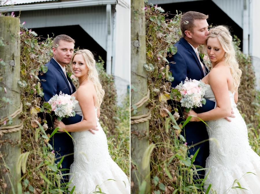 groom kissing brides head at a barn wedding in ohio