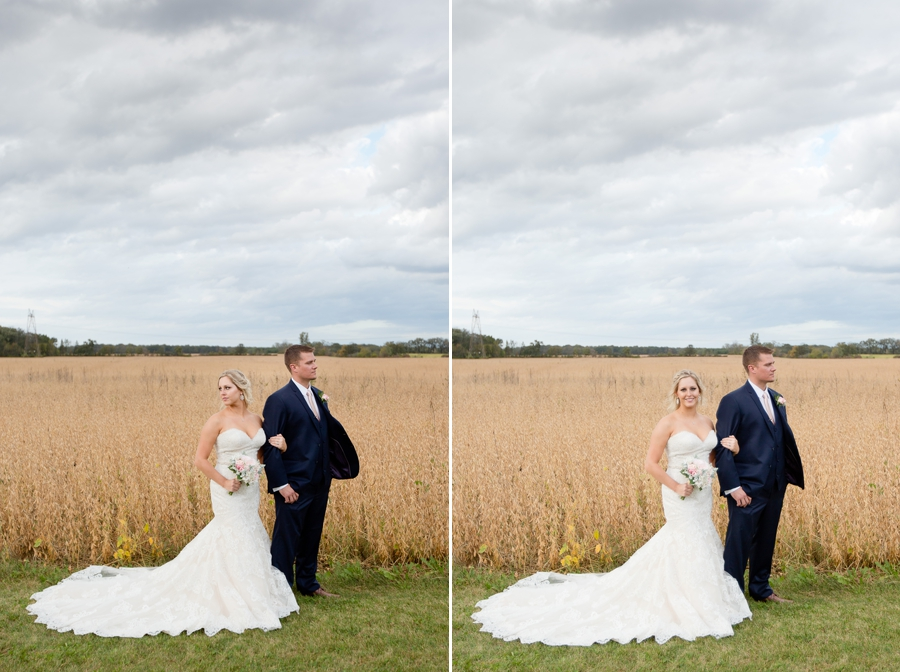 bride and groom looking opposite directions at barn wedding in ohio
