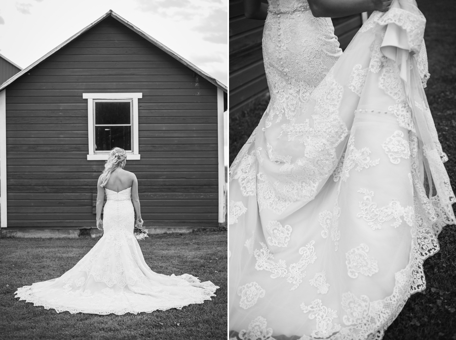 back of brides dress at a barn wedding in ohio