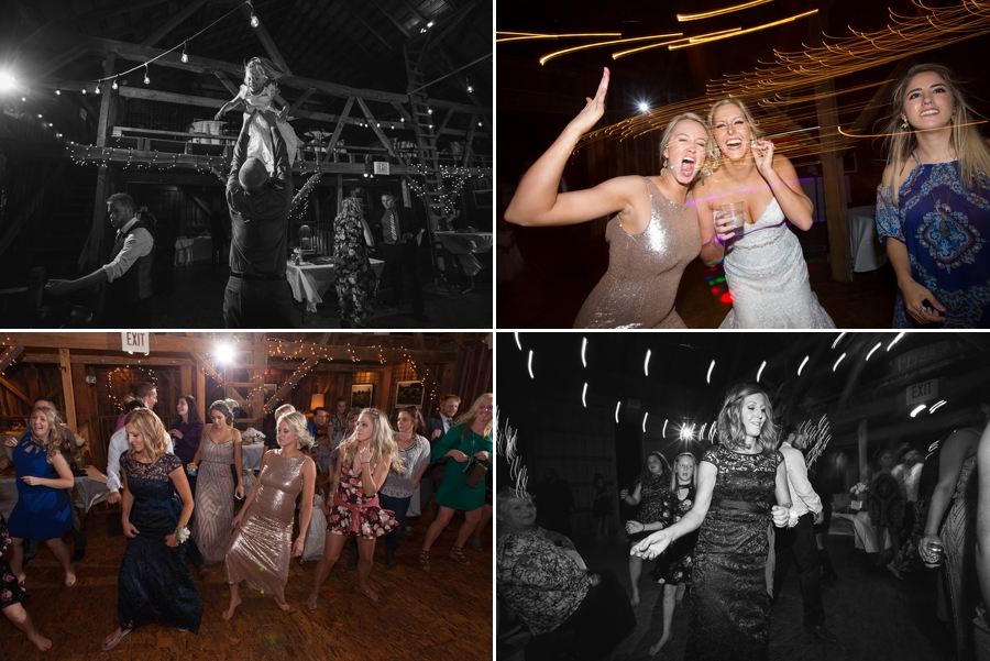 bride dancing and laughing at reception at a barn wedding in ohio
