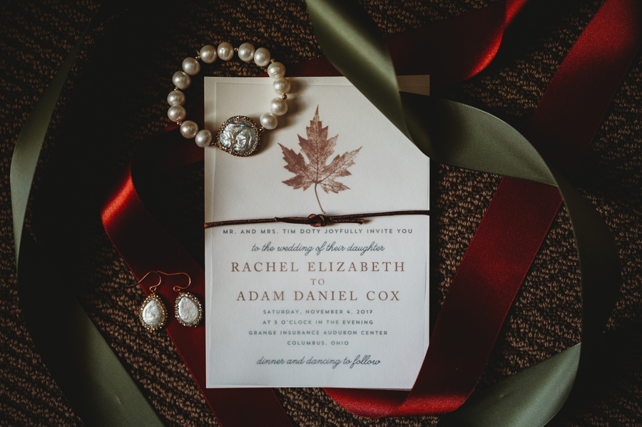 wedding invitation with autumn leaf