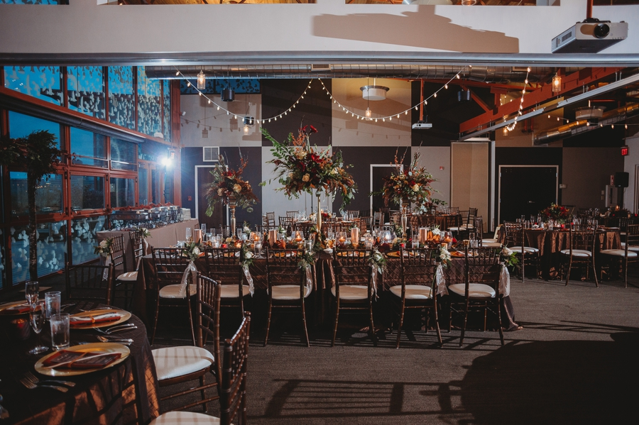 wide photo of reception at grange insurance audubon center wedding