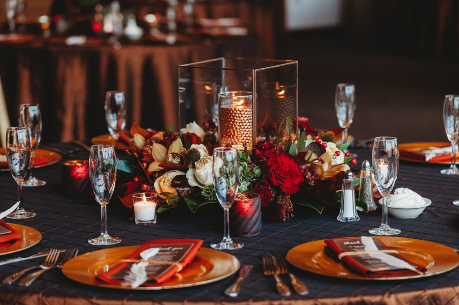 autumn centerpieces at grange audubon wedding