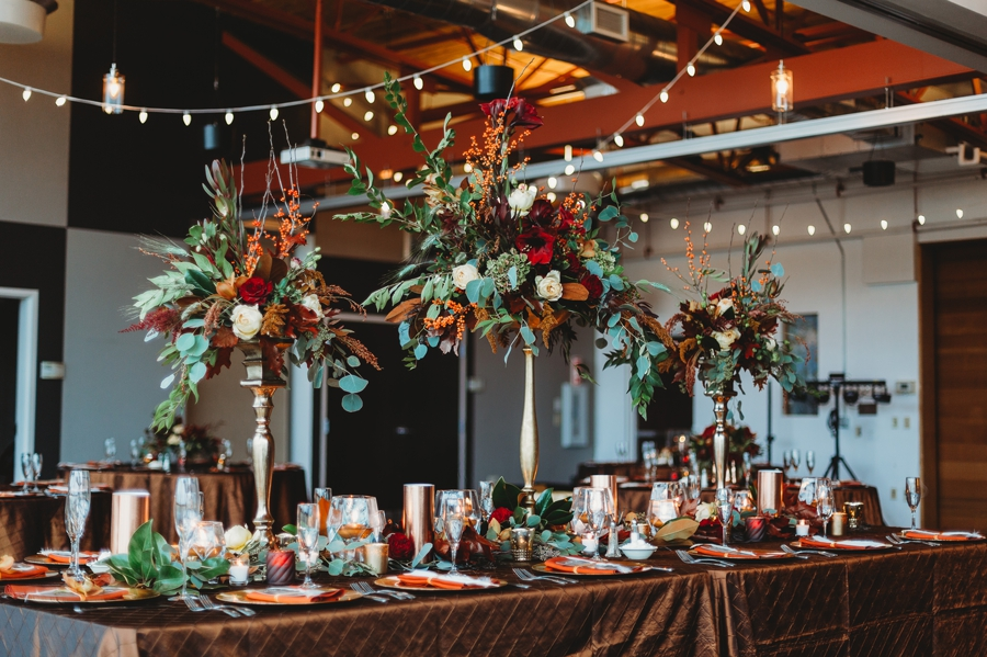 tall floral centerpieces at grange audubon wedding