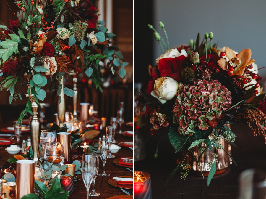 close up photo of copper accents at fall wedding