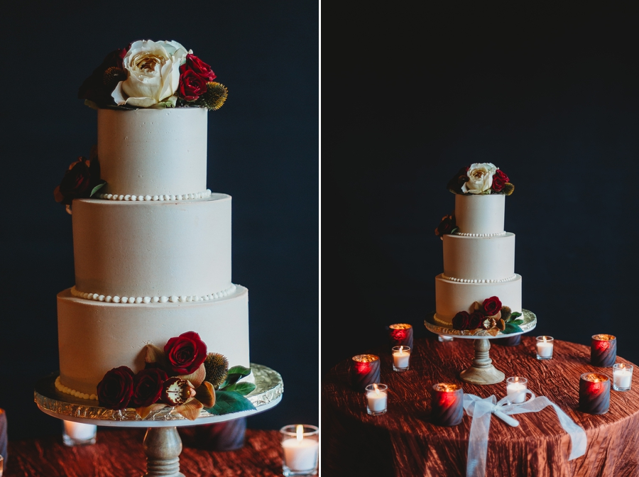 fall wedding cake on black background at grange audubon wedding