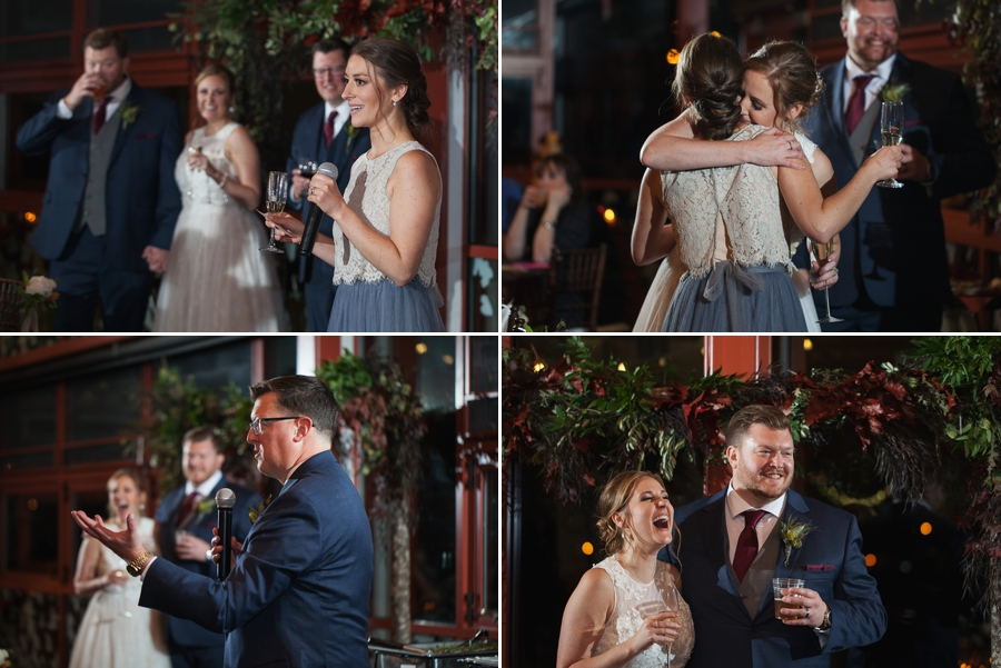best man and maid of honor speeches at grange insurance audubon wedding