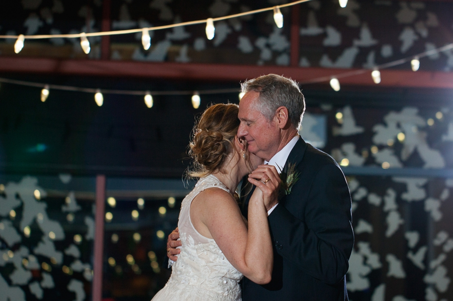 father daughter dance hug at grange insurance audubon wedding