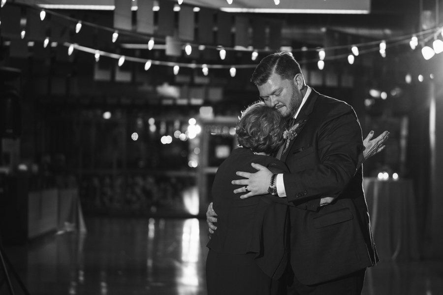 mother son hugging during dance at grange insurance audubon wedding