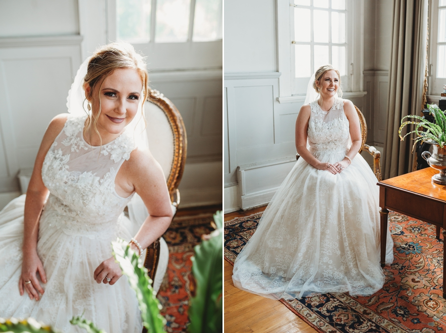 bride smiling in a victorian home