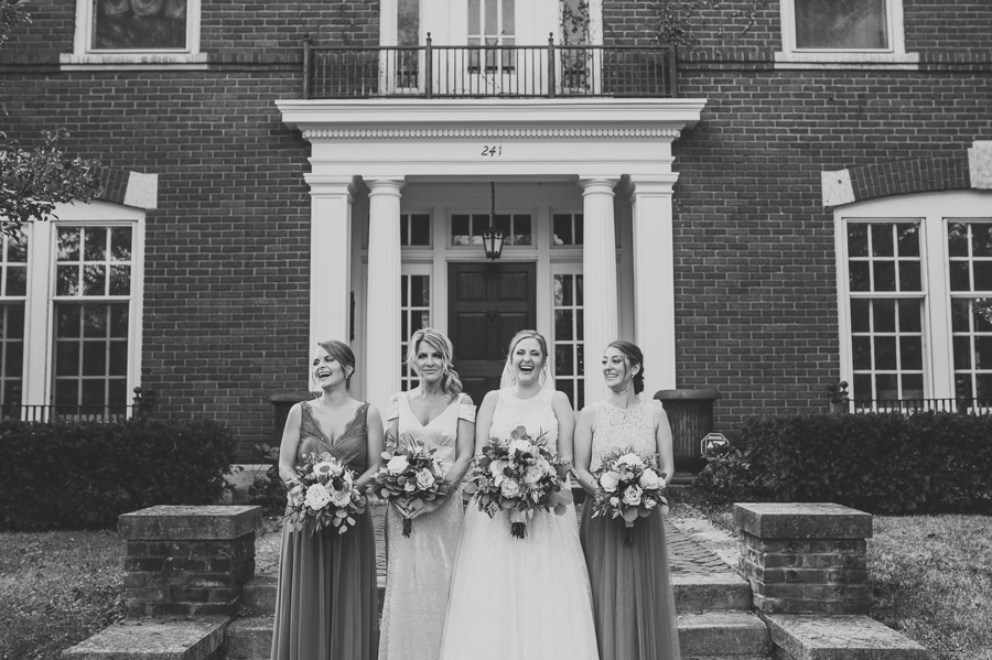 black and white photo of bride and bridemaids