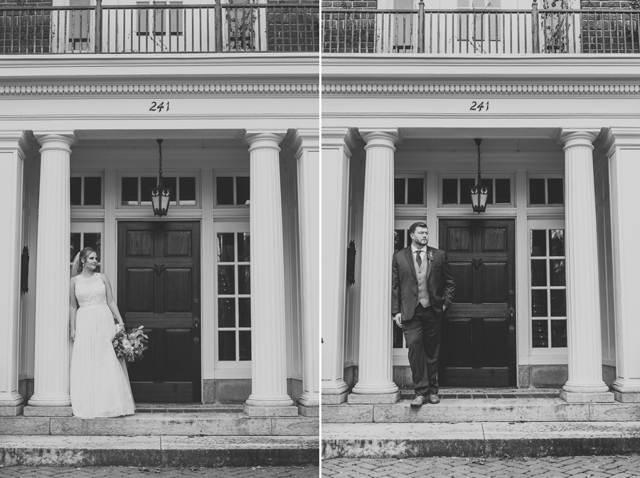 black and white photos of bride and groom in doorway