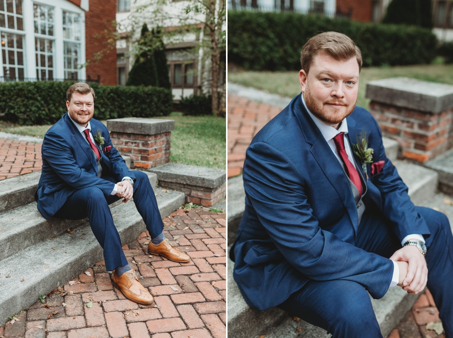 groom smiling while sitting on steps