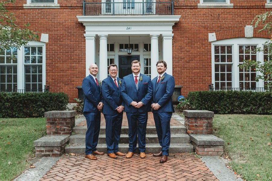 groomsmen and groom at grange insurance audubon center wedding