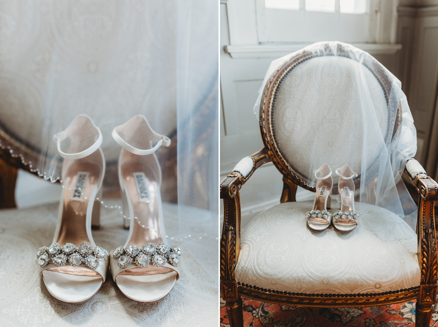 brides wedding shoes on antique chair