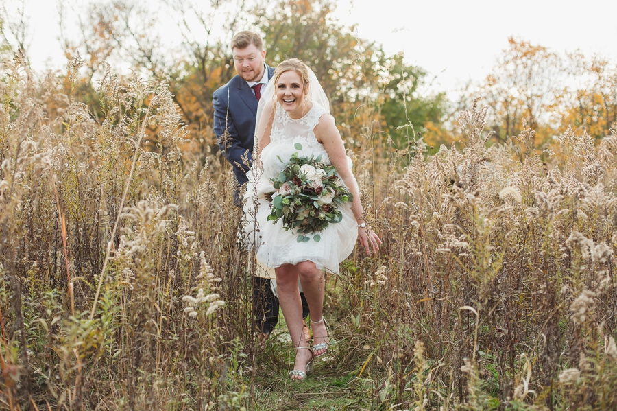 married couple malking out of field at grange audubon