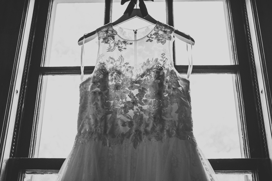 close up black and white photo of wedding dress