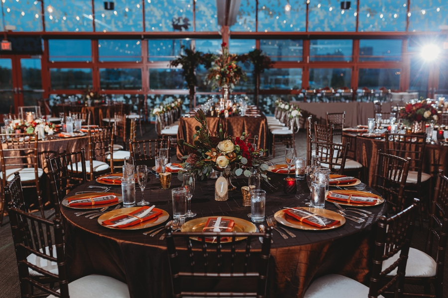 table settings at grange insurance audubon center wedding