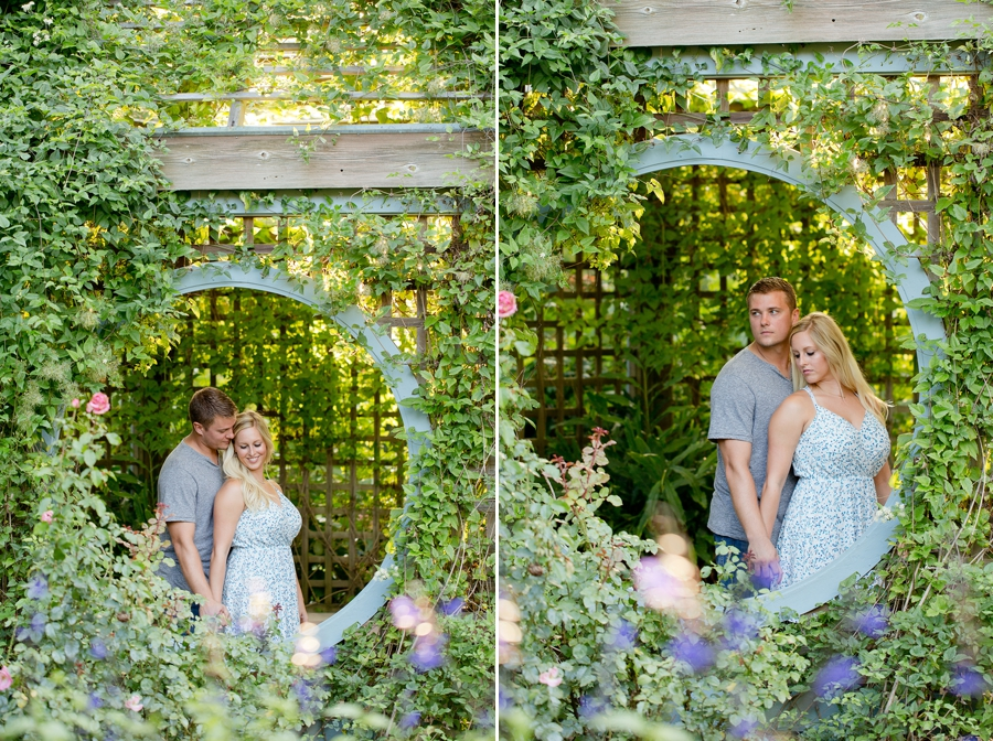 engaged couple smiling at Inniswood Metro Gardens