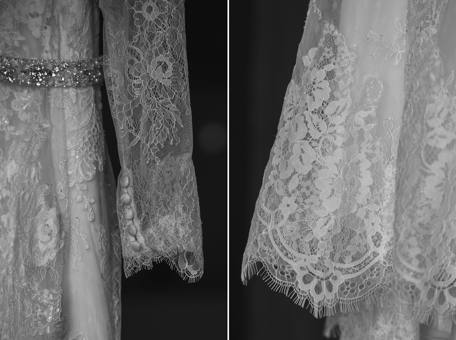 close up of lace sleeves of wedding dress