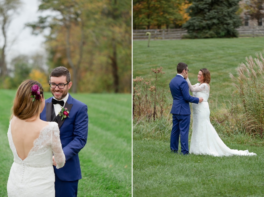 grooms reaction to seeing bride for the first time at jorgensen farm