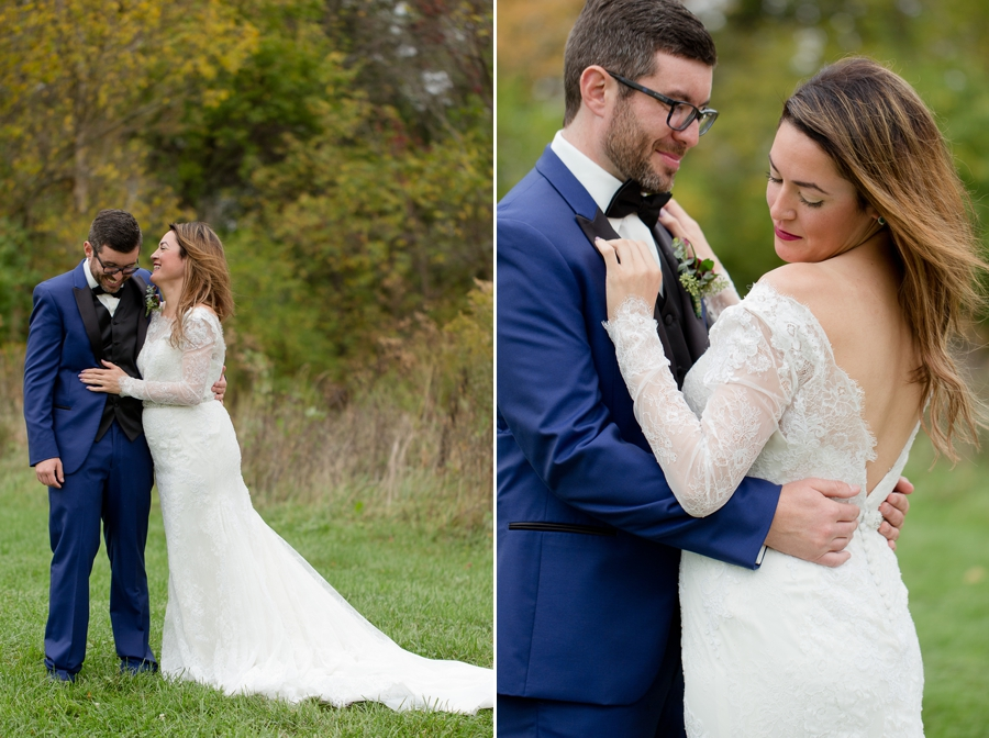 married couple laughing in field at jorgensen farm