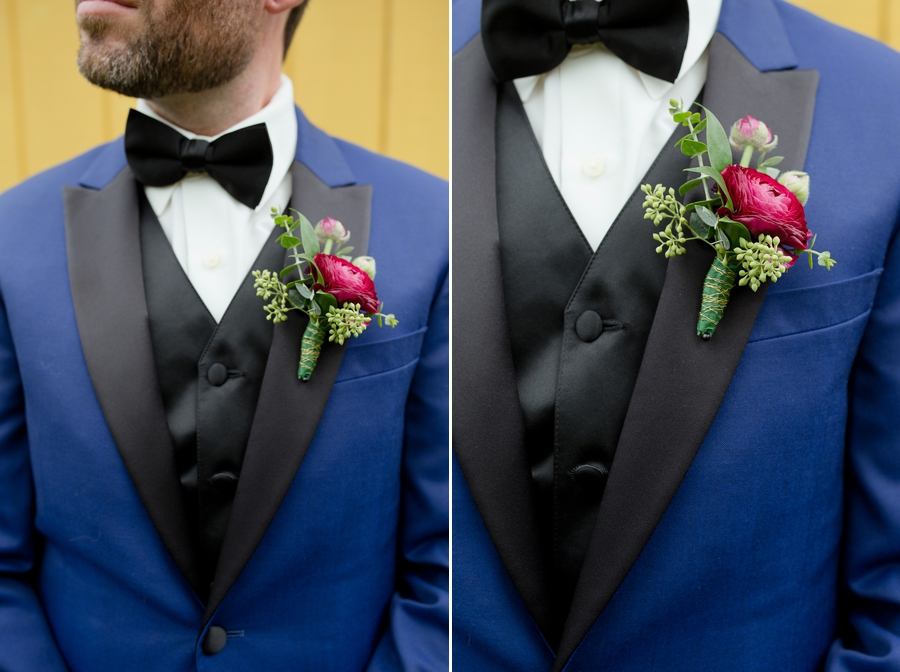 close up of groom boutonniere