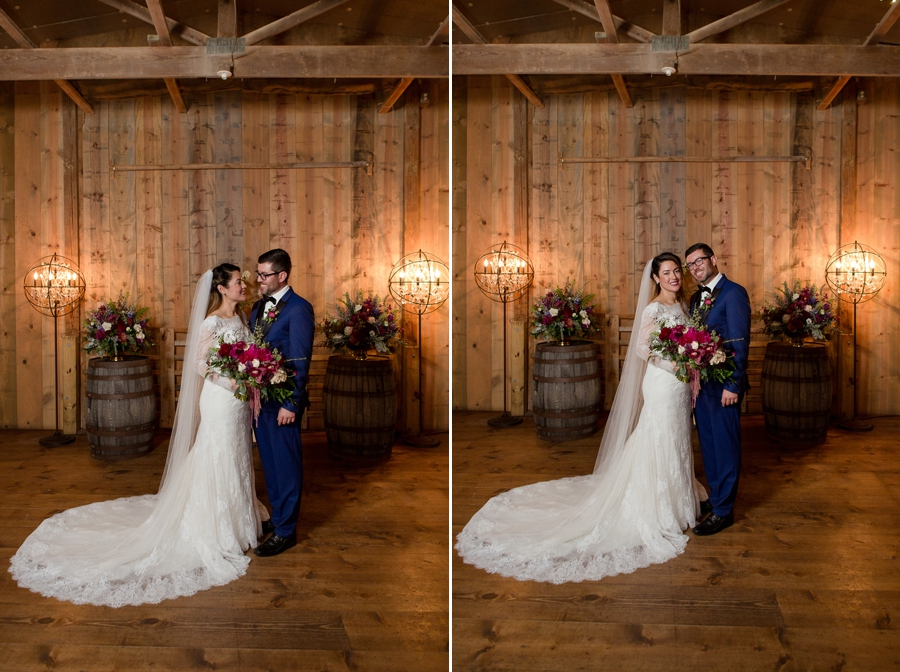 bride and groom looking at each other inside jorgensen farm barn
