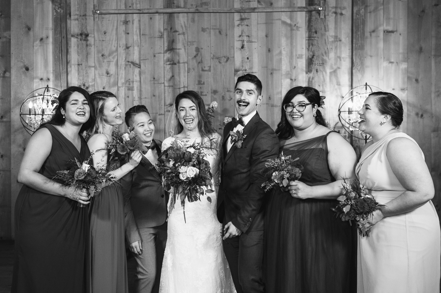 bride with her bridal party at jorgensen farm