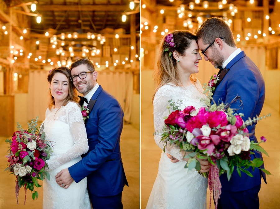 bride and groom with foreheads together at jorgensen farm wedding