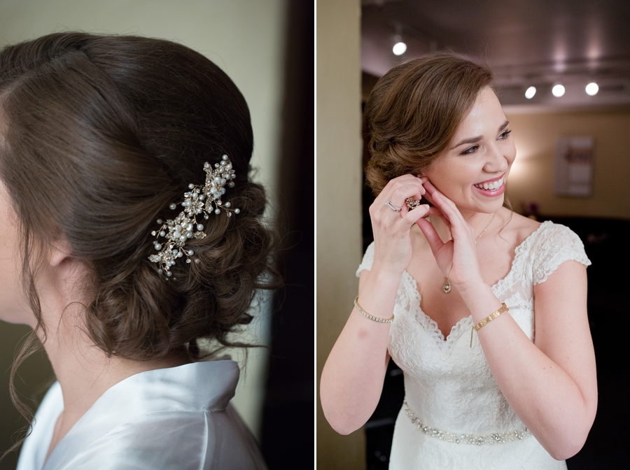 bride putting on earrings at the bluestone columbus