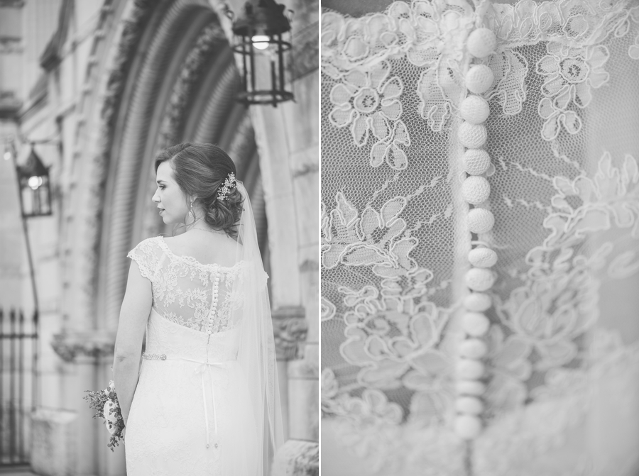 wedding dress lace details at the bluestone