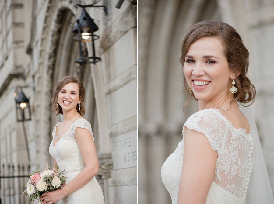 bride smiling outside of the bluestone columbus