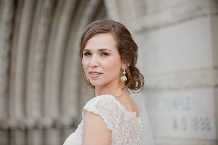 bridal portrait outside of the bluestone columbus