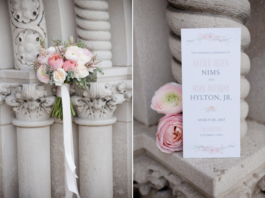 bridal bouquet and invitation at the bluestone columbus
