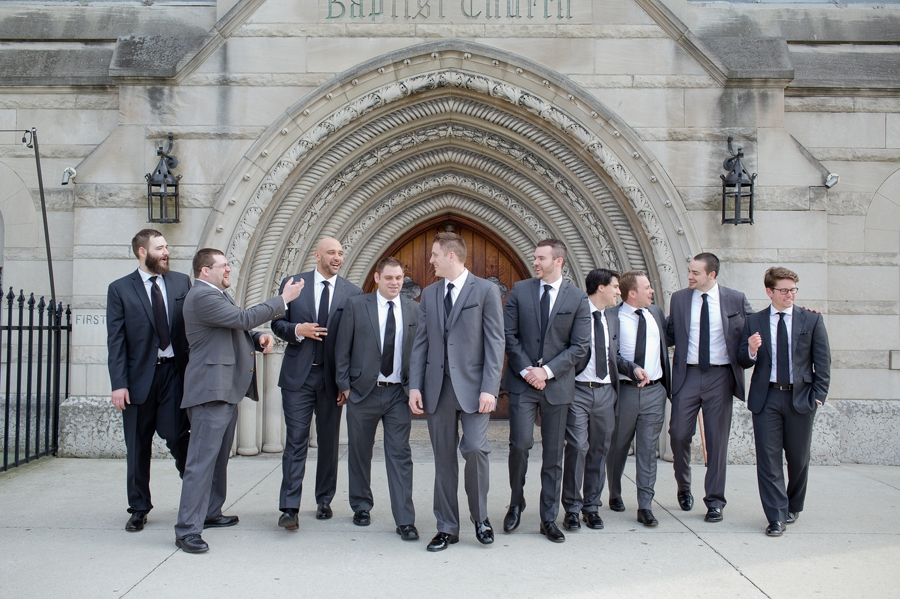 candid walking photo of groom with groomsmen at the bluestone columbus ohio