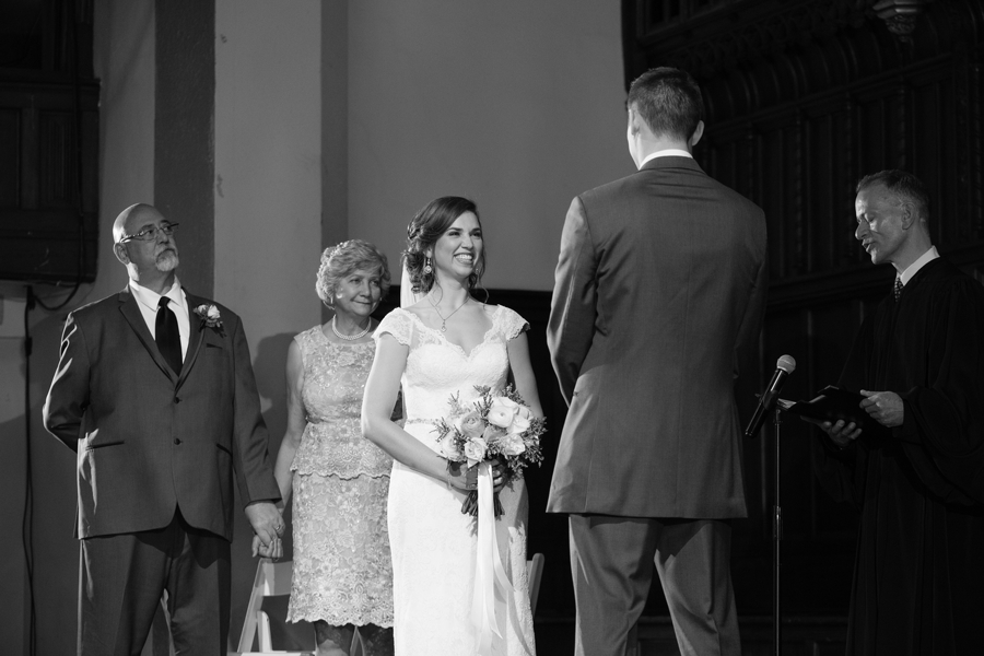 black and white wedding ceremony photo at the bluestone